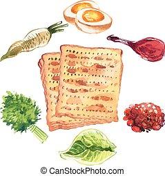 Happy Jewish Passover greeting card. Vector illustration