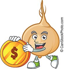 happy jicama cartoon character with gold coin