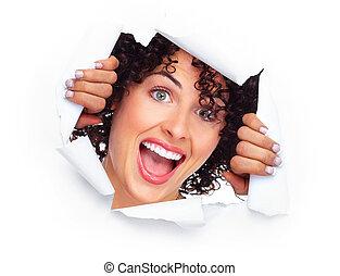 happy joyful caucasian woman