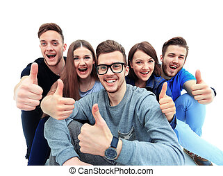 Happy joyful group of friends cheering isolated on white background