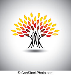 happy, joyous people as trees of life - eco concept vector. This graphic icons also represents harmony, joy, happiness, friendship, education, peace, development, healthy growth, sustainability
