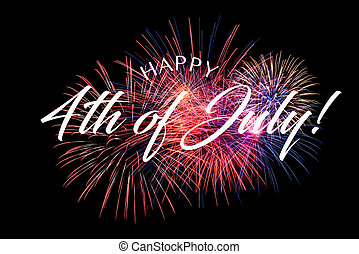 Happy July 4th Greeting with black background