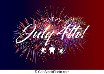Happy July 4th Greeting with red and blue background
