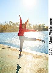 happy jump girl