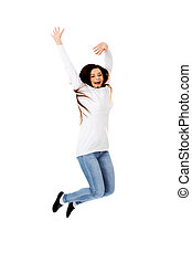 Happy jumping beautiful young woman