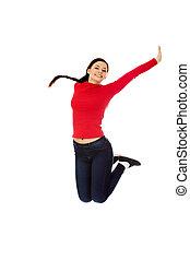 Happy jumping beautiful young woman