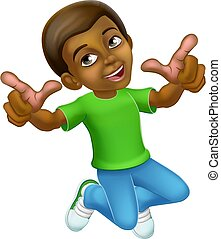 Happy Jumping Boy Kid Child Cartoon Character