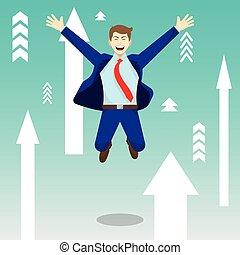 Happy Jumping Businessman Among Upward Arrows