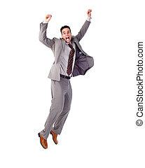 Happy jumping businessman.