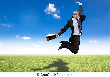 happy jumping businessman - happy businessman jumping in...
