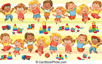 Happy jumping kids holding hands. Seamless pattern. Vector...