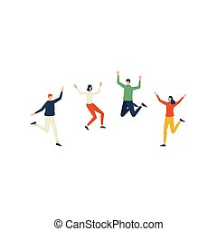 Happy jumping people. flat character