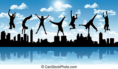 happy jumping people with a city silhouette - silhouettes of...