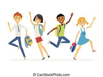 Happy jumping schoolchildren - cartoon people characters...