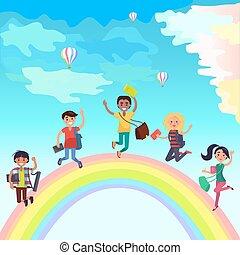 Happy Jumping Students on Rainbow Illustration