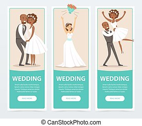 Happy just married couples, wedding banners set flat vector elements for website or mobile app