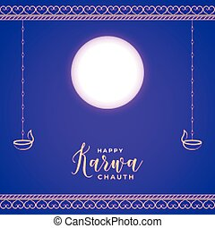 Happy karwa chauth card with moon and diya traditional festival vector
