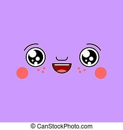 Happy Kawaii face Cute cartoon. Funny lucky
