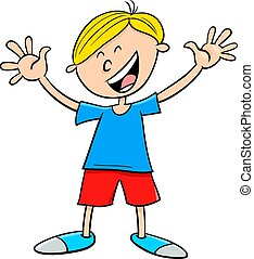 happy kid boy character cartoon illustration