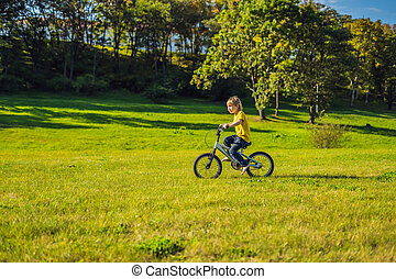 Happy kid boy of 5 years having fun in the park with a bicycle on beautiful day