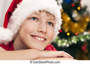 Happy kid celebrating christmas