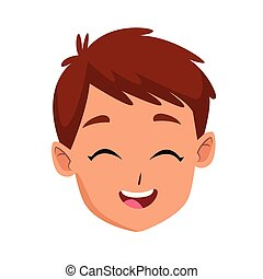 happy kid face icon, flat design