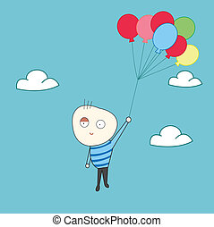 Happy kid fly with balloons
