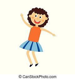Happy kid girl dancing, jumping and having fun - cute flat cartoon female character of cheerful child dancer.