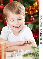 Happy kid in Christmas