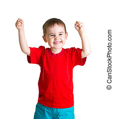 Happy kid in red tshirt with hands up isolated