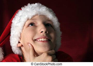 happy kid in santa hat