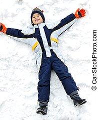 Happy kid on snow