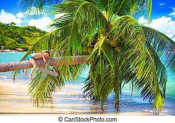 happy kid relaxing on palm at tropical beach