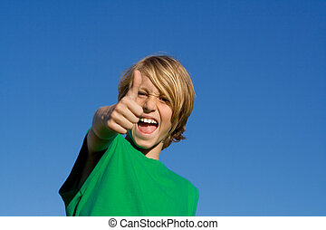 happy kid thumb up