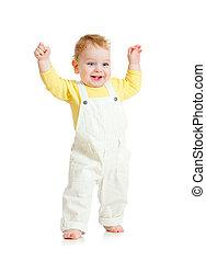 happy kid walking on white