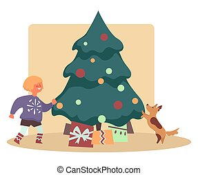 Happy kid with dog pet finding presents under Christmas tree