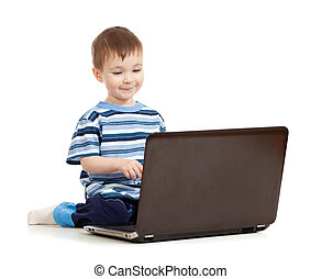 happy kid with notebook on white background
