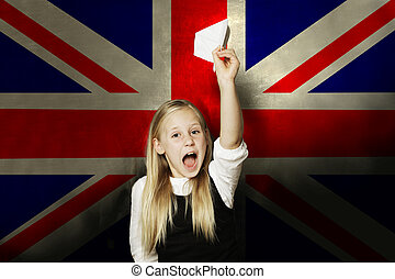 Happy kid with plane against UK flag background. Learning English concept