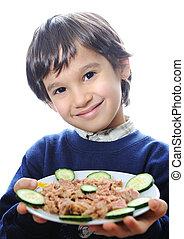 happy kid with tuna
