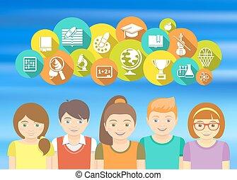 Happy Kids and School Icons