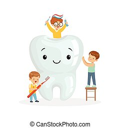 Happy kids brushing a big toorh with a brush and toothpaste, cute cartoon characters vector Illustration