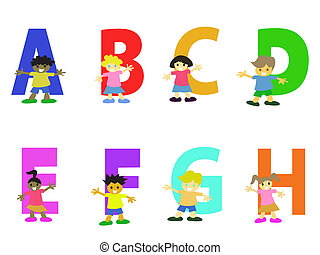 happy kids cartoon alphabet collection