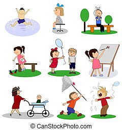 Happy kids cartoon collection. Set of vector illustrations.