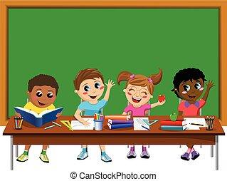 Happy kids children classroom blank blackboard isolated