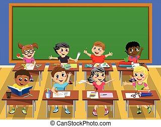 Happy kids children desk school blank blackboard