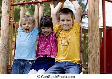 happy kids - children in a playground