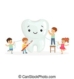 Happy kids cleaning a big tooth with a brush and dental floss, cute cartoon characters vector Illustration