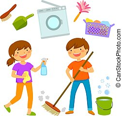Happy kids cleaning the house
