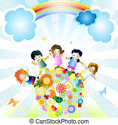 happy kids - kids and planet; joyful illustration with...