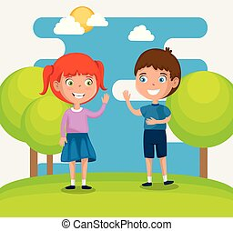 happy kids couple characters vector illustration design
